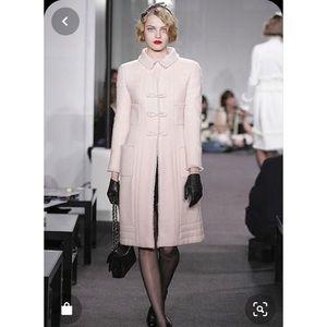 Chanel Runway 06A wool coat pink fringe trim 38 S
